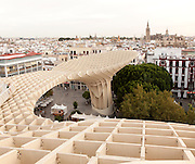 Metropol Parasol wooden structure in La Encarnación square, Seville, Spain designed by architect Jürgen Mayer-Hermann 2011
