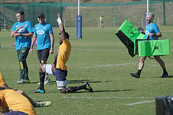 JOHANNESBURG, SOUTH AFRICA MAY 28: Center, Siya Kolisi and coaching staff during training on 28 May 2018 in Johannesburg South Africa. Both Pieter-Steph du Toit and Siya Kolisi were announced by Springboks coach Rassie Erasmus as captains ahead of upcoming international games against Wales and England, the Springbok captaincy is a first for both players. They attended a training session with the Springbok rugby squad and coaching staff at St Stithians School. (Photo by Dino Lloyd)