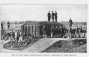 Third Massachusetts Heavy Artillery at Fort Stevens (AKA Fort Massachusetts) from the book ' The Civil war through the camera ' hundreds of vivid photographs actually taken in Civil war times, sixteen reproductions in color of famous war paintings. The new text history by Henry W. Elson. A. complete illustrated history of the Civil war