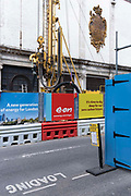 A drilling machine and the exterior of the former cold storage facility at Smithfield Market in the City of London, the capitals financial district, on 27th May 2021, in London, England.