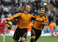 Photo: Ed Godden.<br />Wolverhampton Wanderers v Cardiff City. Coca Cola Championship. 11/03/2006. <br />Kenny Miller (L) celebrates scoring the penalty for Wolves.