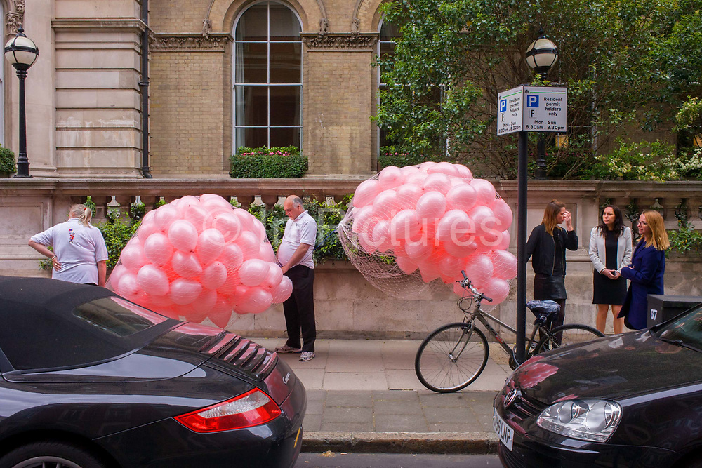 Secure pink balloons due to be released during a PR event for the Langham Hotel in central London, UK. The event is being filmed and photographed and attracts onlookers and hotel employees eager to see the balloons fly up in the air. The Langham, London is one of the largest and best known traditional style grand hotels in London. It is in the district of Marylebone on Langham Place and faces up Portland Place towards Regent's Park. The Langham was designed by John Giles and built between 1863 and 1865 at a cost of £300,000. It was then the largest and most modern hotel in the city