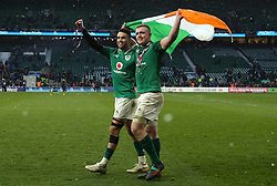 Ireland's Dan Leavy and Conor Murray celebrate winning the Grand Slam and during the NatWest 6 Nations match at Twickenham Stadium, London.