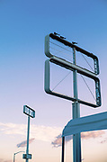 Image of old empty sign frames along Route 66 near Needles, California, America west coast by Randy Wells