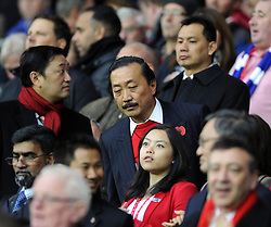 Cardiff City owner, Vincent Tan tries to find his seat - Photo mandatory by-line: Joe Meredith/JMP - Tel: Mobile: 07966 386802 03/11/2013 - SPORT - FOOTBALL - The Cardiff City Stadium - Cardiff - Cardiff City v Swansea City - Barclays Premier League