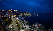 Kavala harbour at night.