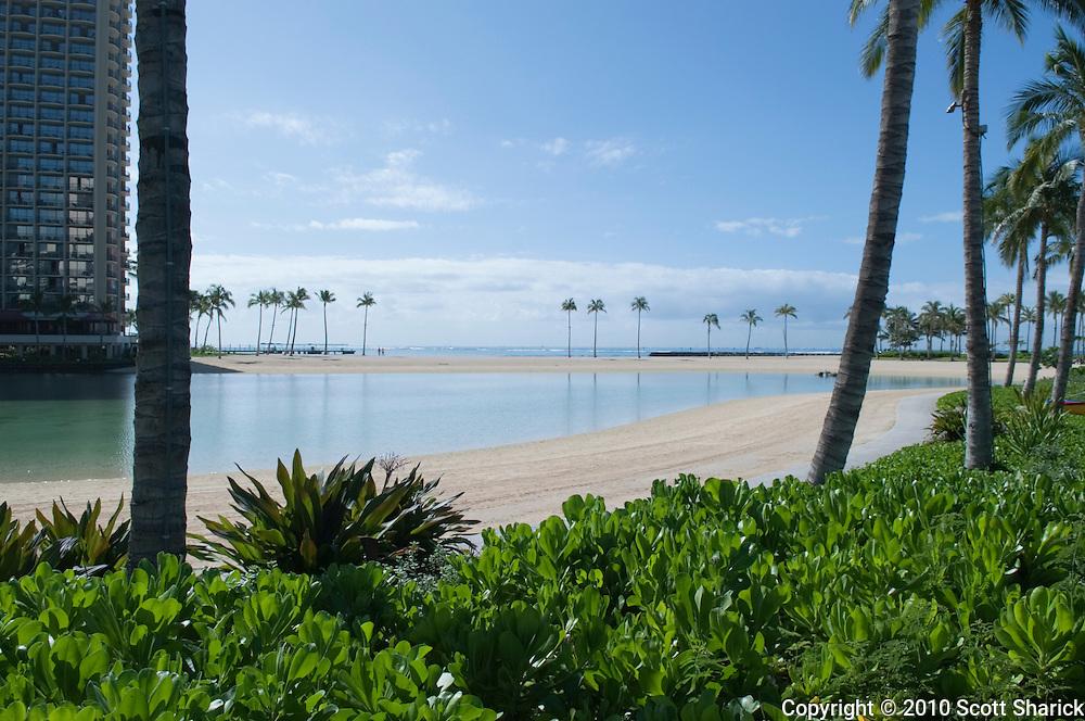 No one to be found at the Hilton Hawaiian Village Lagoon during the tsunami warning.