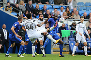 Joe Ledley of Derby county © challenges Sol Bamba of Cardiff city ®. EFL Skybet championship match, Cardiff city v Derby County at the Cardiff city stadium in Cardiff, South Wales on Saturday 30th September 2017.<br /> pic by Andrew Orchard, Andrew Orchard sports photography.