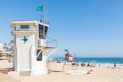 Laguna Beach Lifeguard Tower at the Boardwalk at Main Beach During Summer