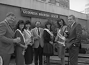 Roses of Tralee at Guinness Brewery..1986.20.08.1986..08.20.1986..20th August 1986..As part of the 50th running of the Rose Of Tralee Festival the thirty Rose contestants were invited to The Guinness Brewery,St James's Gate,Dublin. At the reception in their honour, Mr Pat Healy,Sales Director,Guinness Group Sales,welcomed the roses at the Guinness Reception Centre..Extra: Ms Noreen Cassidy,representing Leeds,went on to win the title of 'Rose Of Tralee'...The Chairman of the Rose of Tralee organising committee and representatives from Guinness are pictured with the Rose entries from sunny Australia.