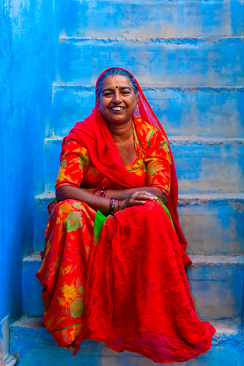 Woman on a stairway in the Blue City, Jodhpur, Rajasthan, India