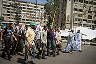Pro-government demonstrators march with sticks in Cairo, in the wake of large scale civil unrest calling for the resignation of president Morsi and the Muslim Brotherhood in Cairo.