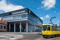 Exterior of Szczecin Główny railway station in Poland
