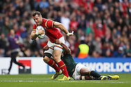 Gareth Davies of Wales on his way to score a try with Tendai Mtawarira of South Africa trying to stop him. Rugby World Cup 2015 quarter final match, South Africa v Wales at Twickenham Stadium in London, England  on Saturday 17th October 2015.<br /> pic by  John Patrick Fletcher, Andrew Orchard sports photography.