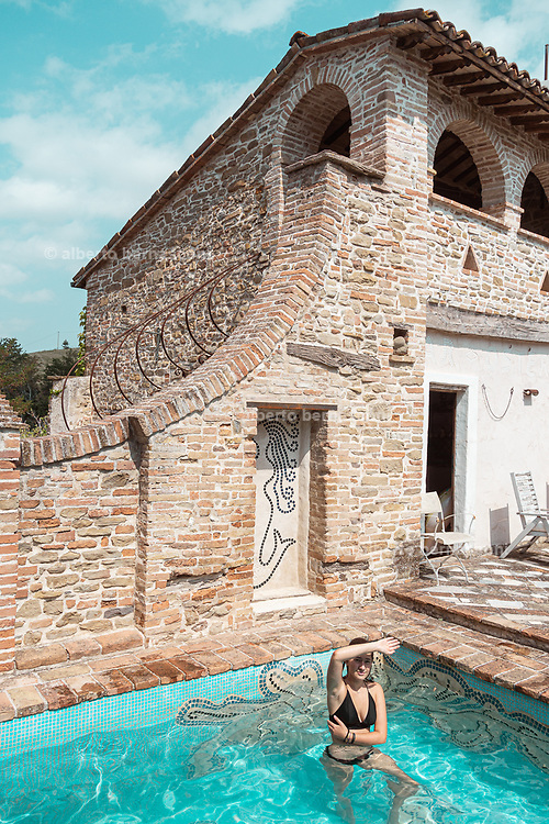 Italy, Marche, Pian di Meleto,  le Torricelle , a medieval little village renovated and converted into a  widespread hotel