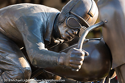 Jeff Decker sculpture on Main Street during the 78th annual Sturgis Motorcycle Rally. Sturgis, SD. USA. Saturday August 11, 2018. Photography ©2018 Michael Lichter.