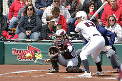 22 April 2017:  Jordan de los Reyes during a Missouri Valley Conference (MVC) women's softball game between the Missouri State Bears and the Illinois State Redbirds on Marian Kneer Field in Normal IL