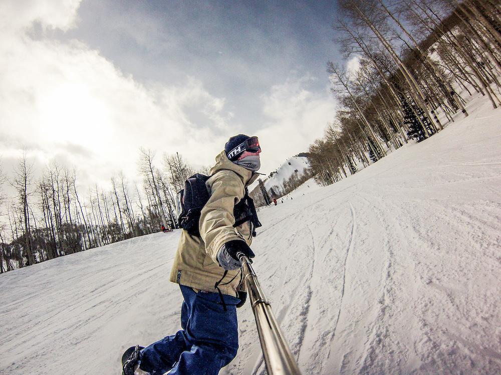 Skiing and snowboarding at Canyons Resort, Utah