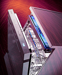 Samsung Laser Project commissioned by Harrods. Dishwasher painted with laser lights.