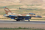Israeli Air Force F-16A Fighter jet awaiting take off.