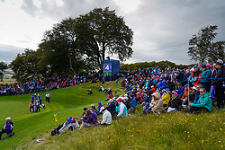 Auchterarder, Scotland, UK. 14 September 2019. Saturday afternoon Fourballs matches  at 2019 Solheim Cup on Centenary Course at Gleneagles. Pictured; View of spectators around the 4th green.  Iain Masterton/Alamy Live News