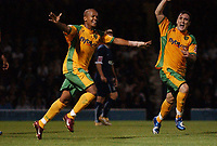 Photo: Olly Greenwood.<br />Southend United v Norwich City. Coca Cola Championship. 12/09/2006. Norwich's Robert Earnshaw celebrates scoring his second goal