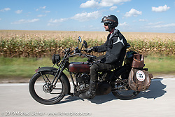 Jon Dobbs riding his 1916 Harley-Davidson model J on the Motorcycle Cannonball coast to coast vintage run. Stage 7 (274 miles) from Cedar Rapids to Spirit Lake, IA. Friday September 14, 2018. Photography ©2018 Michael Lichter.