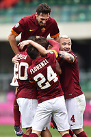 Esultanza gol Francesco Totti con Alessandro Florenzi, Seydou Keita, Davide Astori, Radja Nainggolan <br /> Verona 22-02-2015 Stadio Bentegodi Football Calcio Serie A Hellas Verona - Roma. Foto Andrea Staccioli / Insidefoto<br /> Fiorentina captain Davide Astori dies suddenly aged 31 . <br /> Astori was staying a hotel with his team-mates ahead of their game on Sunday away at Udinese when he passed away. <br /> Foto Insidefoto