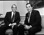 Tanaiste Hosts Dinner For Mayor Daley Of Chicago..T7..1989..22.09.1989..09.22.1989..22nd September 1989..On his visit to Ireland, Mayor Richard M Daley, Chicago, USA was geust of honour at a diner hosted by An Tanaiste Brian Lenihan TD. The function took place at Iveagh House,Dept of Foreign Affairs...Image shows An Tanaiste, Brian Lenihan TD, in conversation with Mayor Daley in Iveagh House, Dublin.