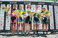 The 2017 Fairview Attakwas Extreme MTB Challenge Women's Podium: (From left to right) Ariane Luthi (5th), Jennie Stenerhag (3rd), Annika Langvad (1st), Robyn de Groot (2nd) and Amy Beth McDougall (5th). Photo by: Ewald Sadie/Dryland/SPORTZPICS