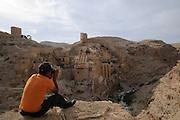 Kloster Mar Sabah, Kidron-Tal, Palästina, Israel.|.Mar Sabah Monastery, Kidron Valley, Palestine, Israel.
