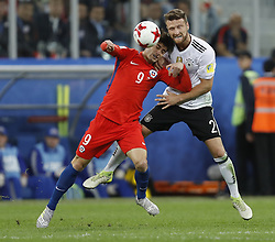 July 3, 2017 - Saint Petersburg, Russia - Angelo Sagal (L) of Chile national team and Shkodran Mustafi of Germany national team vie for the ball during FIFA Confederations Cup Russia 2017 final match between Chile and Germany at Saint Petersburg Stadium on July 2, 2017 in Saint Petersburg, Russia. (Credit Image: © Mike Kireev/NurPhoto via ZUMA Press)