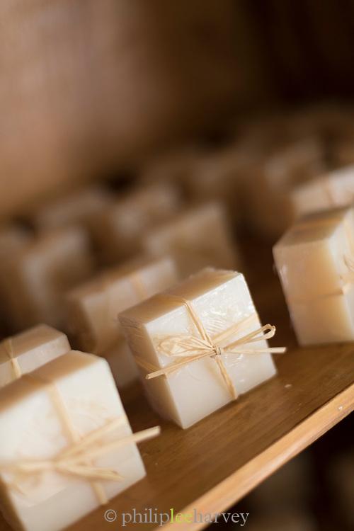 Close up of donkey milk soap on display, Santa Reparata di Balagna, Corsica, France