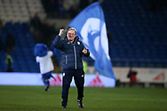 Neil Warnock, the Cardiff city manager celebrates at the end of the game which Cardiff won 2-1. EFL Skybet championship match, Cardiff city v Barnsley at the Cardiff city stadium in Cardiff, South Wales on Tuesday 6th March 2018.<br /> pic by Andrew Orchard, Andrew Orchard sports photography.