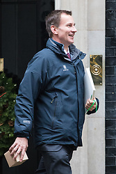 Downing Street, London, December 13th 2016. Health Secretary Jeremy Hunt leaves the weekly meeting of the cabinet at Downing Street, London.
