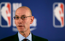 NBA Commisioer Adam Silver chairs a press conference before the NBA London Game 2018 at the O2 Arena, London.