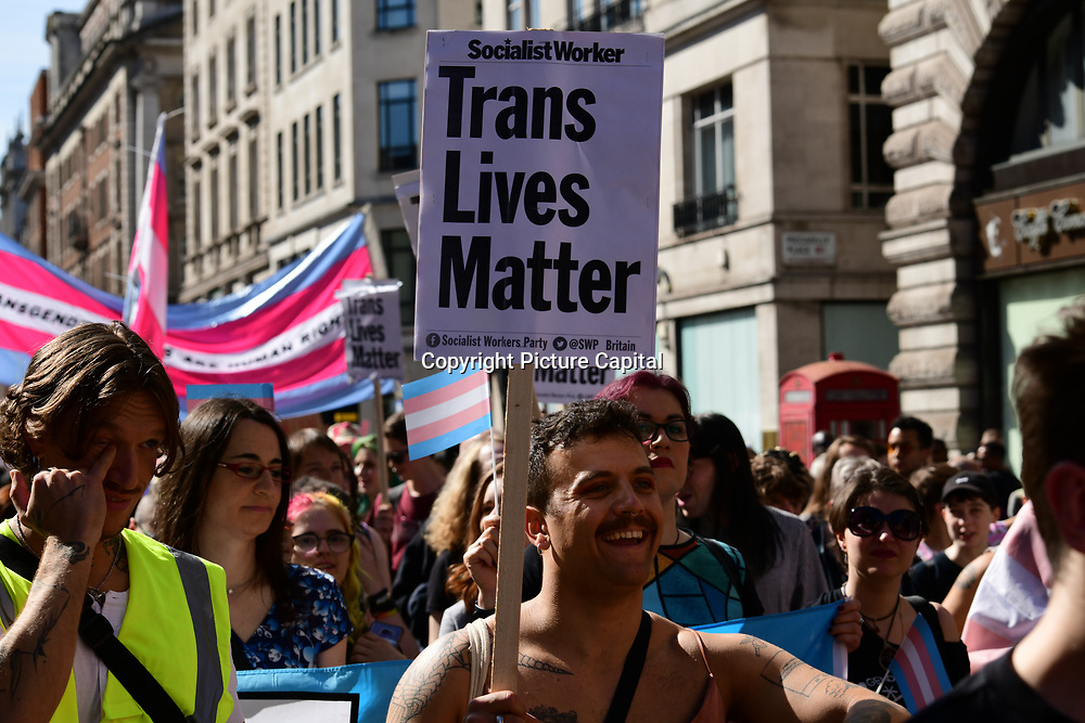 Hundreds of transgender people assembly at Wellington Arch march for the first Trans Pride march through Soho Square demand  Transgender equality better health care and the rise of transphobic hate crimes all over UK on 13 September 2019, London, UK.