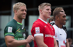 March 9, 2016 - Vancouver, BC, Canada - South Africa captain Kyle Brown, from left to right, Canada captain John Moonlight and Fiji captain Osea Kolinisau pose for photographs to promote the World Rugby Sevens Series' Canada Sevens tournament, in Vancouver, B.C., on Wednesday March 9, 2016. The two day tournament is scheduled to be held March 12 and 13. THE CANADIAN PRESS/Darryl Dyck (Credit Image: © Darryl Dyck/The Canadian Press via ZUMA Press)