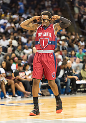 July 6, 2018 - Oakland, CA, U.S. - OAKLAND, CA - JULY 06: Amar'e Stoudamire (1) co-captain of Tri-State adjusts his eye protection during game 3 in week three of the BIG3 3-on-3 basketball league on Friday, July 6, 2018 at the Oracle Arena in Oakland, CA (Photo by Douglas Stringer/Icon Sportswire) (Credit Image: © Douglas Stringer/Icon SMI via ZUMA Press)