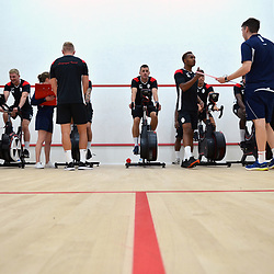 Bucks players take to the exercise bikes as part of pre-season fitness testing as AFC Telford United return to pre-season training at Lilleshall National Sports Centre on Saturday, June 29, 2019.<br /> <br /> Free for editorial use only<br /> Picture credit: Mike Sheridan/Ultrapress<br /> <br /> MS201920-003
