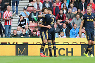 Son Heung-Min of Tottenham Hotspur (l) celebrates with Kyle Walker after scoring his teams 1st goal. Premier league match, Stoke City v Tottenham Hotspur at the Bet365 Stadium in Stoke on Trent, Staffs on Saturday 10th September 2016.<br /> pic by Chris Stading, Andrew Orchard sports photography.