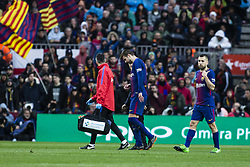 March 4, 2018 - Barcelona, Catalonia, Spain - 03 Gerard Pique from Spain of FC Barcelona with some problems with his right leg during La Liga match between FC Barcelona v Atletico de Madrid at Camp Nou Stadium in Barcelona on 04 of March, 2018. (Credit Image: © Xavier Bonilla/NurPhoto via ZUMA Press)