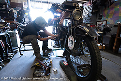 Shinya Kimura working on his 1915 Indian that he and Yoshimasa Niimi will ride cross country in the September 2018 Cannonball-V. Chabott Engineering, Azusa, CA. USA. Wednesday June 27, 2018. Photography ©2018 Michael Lichter.