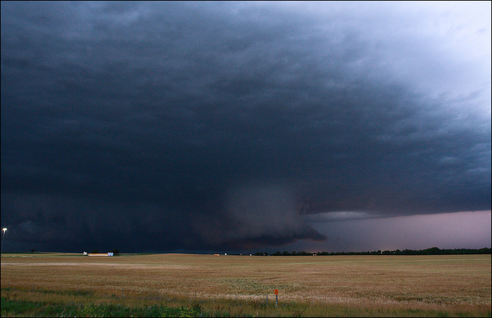 Extremely low wall cloud over Salina, Kansas which produced the Chapman, KS and Manhattan, KS tornados in 2008.