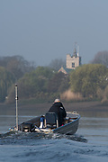 Putney, London,  Tideway Week, Championship Course. River Thames, <br /> St Nicholas' Church Tower, Chiswick, Eyot,<br /> Tuesday  28/03/2017<br /> [Mandatory Credit; Credit: Peter Spurrier/Intersport Images.com ]<br />  <br /> <br /> Chief Coach, Ali WILLIAMS, coaching besides Chiswick Eyot,