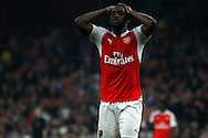 Joel Campbell of Arsenal reacts in despair as a shot goes off target. U21 Barclays Premier league play off final match, Arsenal U21's v Aston Villa U21's at the Emirates Stadium in London on Tuesday 10th May 2016.<br /> pic by Steffan Bowen, Andrew Orchard sports photography.
