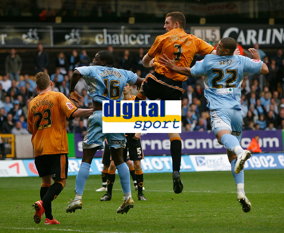 Photo: Steve Bond.<br />Wolverhampton Wanderers v Coventry City. Coca Cola Championship. 06/10/2007. Neill Collins (3) watches his header enter the Coventry net
