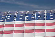 Close-up of American flag on building at Westworld