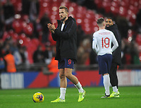 Football - 2019 / 2020 UEFA European Championships Qualifier - Group A: England vs. Montenegro<br /> <br /> Harry Kane of England after the match with the match ball after scoring a hat trick , at Wembley Stadium.<br /> <br /> This game is England men's 1,000 international match.<br /> <br /> COLORSPORT/ANDREW COWIE