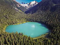 Aerial view of Lower Joffre Lake in British Colombia, Canada.